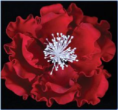 """Ex-Large Red Peony. Gumpaste. 6"""" - Item #390893. Certified Kosher. Contains Wire."""