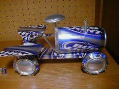 Aluminum can tractor.