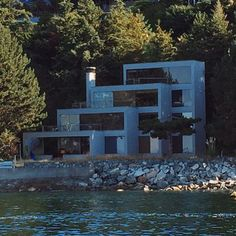As seen from the water in A Daniel Evan White design from the late Any info welcome. Modernism, West Coast, Modern Architecture, North America, Mansions, Film, House Styles, Water, Instagram Posts