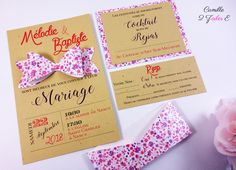 Camille 2 z'ailes E | Faire-part Champêtre Chic – kraft vintage noeud liberty
