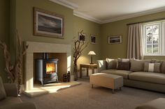 Stanford Evolution Multifuel and Wood Burning Stove Range - shown here the Stanford 33 in a Wessex Stone fireplace