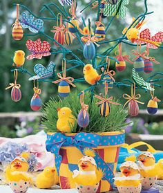Another Easter tree with eggs, butterflies and chicks. Could just use, birds and butterflies for a 'Spring' tree