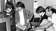"""what-filthy-ways-are-these: """" John Lennon, George Harrison, Peter Asher and Beatles producer George Martin in the Abbey Road Studios listening to a Beatles playback. """""""