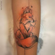 I unquestionably like the colorings, lines, and depth. This is definitely an amazing concept if you want inspiration for a Music Tattoos, Body Art Tattoos, New Tattoos, Small Tattoos, Tatoos, Fox Tattoo Design, Tattoo Designs, Tattoo Ideas, Watercolor Fox Tattoos