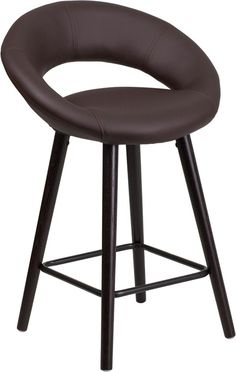 Kelsey Series 24'' High Contemporary Vinyl Counter Height Stool with Cappuccino…