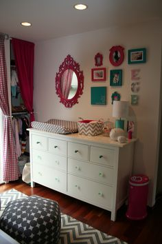 Emma's Hot Pink, Turquoise and Grey nursery - could tie into current nursery stuff