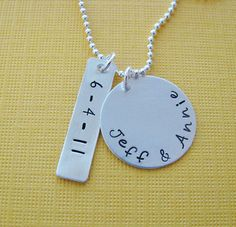 hand stamped custom silver wedding anniversary by juliethefish, $40.00
