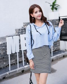 #Price $9.74 Casual Style Hooded Collar Hoodies With Striped Dress (Blue/White)