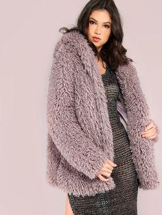 Zip+Up+Faux+Fur+Coat+LAVENDER+59.90