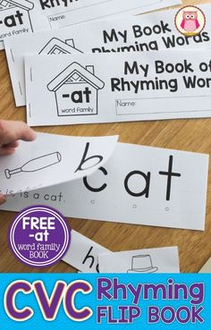 Teach rhyming beginning sounds CVC words phonics blending etc with CVC rhyming flip books. Assemble 4 books at a time. Great for literacy centers in pre-k kindergarten prep SPED and RTI. Word Family Activities, Cvc Word Families, Rhyming Activities, Book Activities, Guided Reading Activities, Rhyming Kindergarten, Preschool Literacy, Kindergarten Reading, Literacy Centers