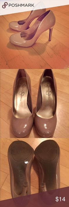 """Jessica Simpson 4"""" Nude Patent Heels Jessica Simpson nude patent heels. Worn 3x. Small nick on the back heel as shown in the third picture. 4"""". Jessica Simpson Shoes Heels"""