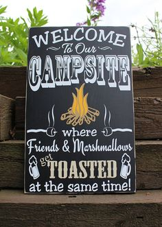Welcome to our campsite-camping sign-camp by TaylorSigns on Etsy