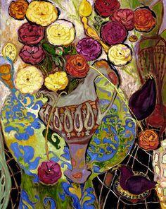 Flower Art Print  Ranunculas Aubergine  16 X 20 by lynnhaysart, $225.00