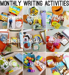 Monthly Writing ideas and free printables - topics can be used for all grade levels Daily 5 Writing, Work On Writing, Kinder Writing, Writing Workshop, Teaching Writing, Writing Centers, Writing Center Kindergarten, Daily 5 Centers, Literacy Centers