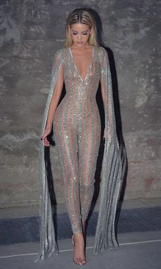 c47c027b7b2 Nearly Naked Glitter Striped Nude Silver Plunge V Neck Flare Sleeve Bodycon  Jumpsuit
