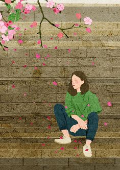 Cherry Blossom on Behance Magazine Illustration, Woman Illustration, Aesthetic Women, Aesthetic Art, Chica Fantasy, Aesthetic Pastel Wallpaper, Art Hoe, Human Art, Magazine Art
