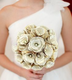 1 Book Page Bouquet - Vintage Book Paper Flowers -Paper Roses -18 Paper Stem Roses -Eco Wedding -MAGAZINE FEATURED