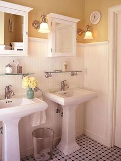 Typically like a double vanity for space, but LOVE this set-up and color!