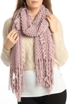 Tassel Knit Scarf In Light Pink.