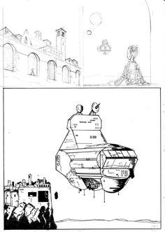 Tavola di Lorenzo Armezzani per la creazione di un fumetto in cooperazione con 8 diversi artisti. Comic Art. #progettodaunalapide