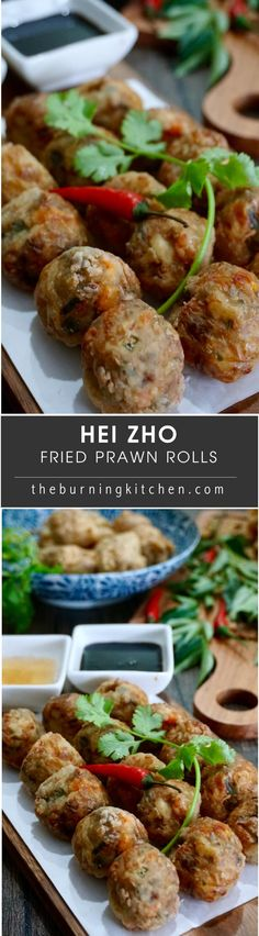 Deep Fried Prawn Roll (Hei Zho): Hei Zho is a Teochew and Hokkien favourite dish served during the Chinese New Year. It is similar to Ngor Hiang except that it contains more prawn and is in the shape of beads, wherea Ngoh Hiang resembles sausage. via @burningkitchen