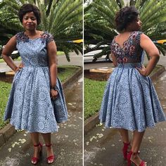 Top lace shweshwe dresses for a walk with their panions & work - pinnerial Latest African Fashion Dresses, African Dresses For Women, African Print Dresses, African Print Fashion, Africa Fashion, South African Traditional Dresses, Traditional Outfits, African Wedding Attire, African Attire