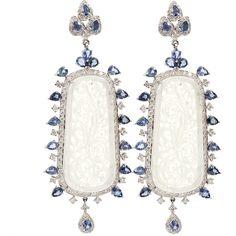 325464e97 INBAR Carved White Jade Sapphire Diamond Earrings White Sapphire Earrings,  Sapphire Jewelry, Sapphire Diamond