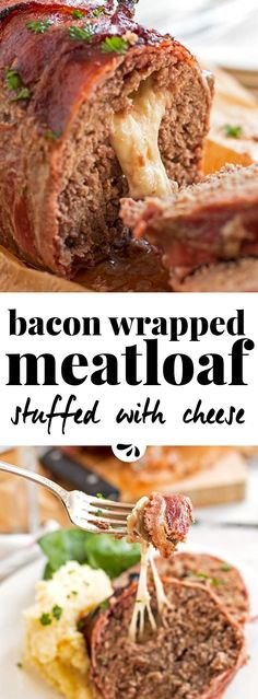 This homemade Mozzarella Stuffed Bacon Wrapped Meatloaf is stuffed with melty cheese and wrapped in plenty of bacon for an easy comforting family dinner. The recipe is cooked without ketchup and smothered in a BBQ sauce glaze instead. The classic meatloaf Homemade Meatloaf, Good Meatloaf Recipe, Meat Loaf Recipe Easy, Meat Recipes, Cooking Recipes, Stuffed Meatloaf Recipes, Game Recipes, Pasta Recipes, Salads