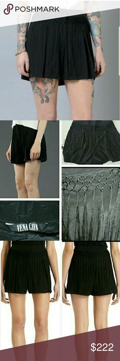 Epazote Fringe shorts by Vena Cava NWT Super stylish and on trend Vena Cava Epazote shorts fearueing fringe details and a comfortable fit. Pair with a tank top, denim jacket and boots for the season!!  New with tags attached. Size 2.  Jet black color 100% silk     Thank you so much for visiting my closet, should you have any questions, please don't hesitate to ask! Happy shopping!    Small fringe playful shorts romper vacation chic party date night comfortable popular Coachella getaway…