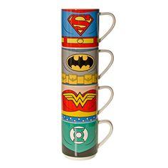 Justice League 4 Pack Mug Set (Multi-Coloured)