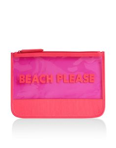 Designed with a 'Beach Please' slogan, this waterproof bikini bag is ideal for wet swimwear, keeping it away from other items in your holiday holdall. Features a zip-top fastening.