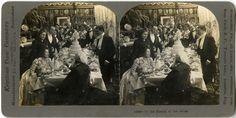 """October 22, 1924: Formation of Toastmasters International, a nonprofit organization aimed at helping people learn the arts of speaking, listening, and thinking.   """"To the Health of the Bride,"""" stereograph, Keystone View Company, undated.  New-York Historical Society, PR 065-0884-0012, 85837d."""