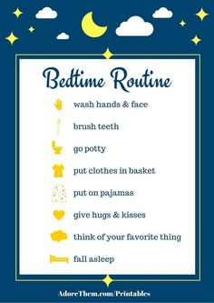 Simple Bedtime Routine Chart Printable - Adore Them Parenting Bedtime Routine Printable, Bedtime Routine Chart, Bedtime Chart, Sleep Training Methods, Healthy Sleep, Night Routine, Kids Sleep, Child Sleep, Parent Resources