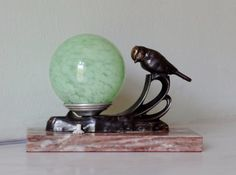 French Art Deco Bird Finch Table Lamp Light on by Decofanatique, $120.00