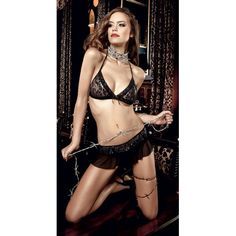 Seduction was never more sensual. Irresistible Mini Skirt Set made of black lace with silver flower ornaments. The triangle bra with narrow neckholder straps reveals your chic side, while the skirt radiates dark romance thanks to its black tulle frills. Flexible and Adjustable....