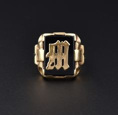 Art Deco Initial M Mens Gold Onyx Ring #Black #Men #Deco #Art #Onyx #Mens #Victorian #Gold #1920s #English