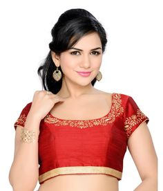 Marron Poly Dupion Twill Dupion Embroidered Padded Blouse #SareeBlouse #RedCollection