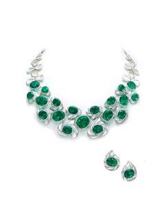 18k white gold, colombian emerald, inlaid mother-of-pearl & diamond demi-parure // bogh-art