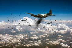 B-17's Taking Flak by Gary Eason - B-17F 'Memphis Belle' of the 91st Bomb Group taking flak on a daylight bombing operation over occupied France in late 1942. It achieved fame as one of the first to complete 25 combat missions with crew intact: they were decorated and flew home and went on a morale-raising publicity tour of the United States.