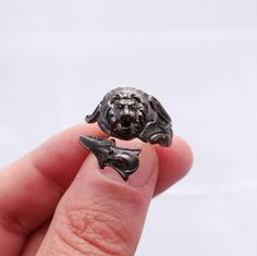 Solid Sterling Silver Ring Rhodiumized Lion Ring of by Inmmotion, $36.99