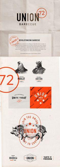 Union 72 BBQ restaurant branding - Grits + Grids