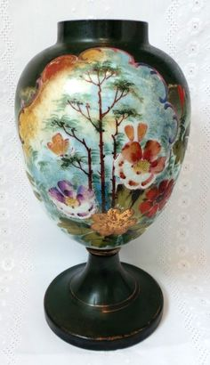 Hand Painted French Opaline Glass Vase