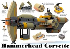 The Hammerhead Corvette is an armed transport ship, that should be part of the fleet of every Star Wars fan. It can be seen in many episodes of season two of Star Wars Rebels. Lego Krieg, Lego Mechs, Legos, Lego Star Wars Mini, Lego Ship, Lego Spaceship, Star Wars Drawings, Star Wars Facts, Star Wars Vehicles