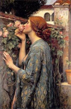 "John William Waterhouse (British 1849-1917) ""The Soul of the Rose"" 1908. oil on canvas. Also known as ""My sweet Rose."" from Lord Tennyson's ""Maud."" 'And the soul of the rose went into my blood'"