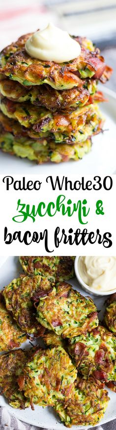 These savory bacon zucchini fritters are easy to make, packed with veggies and downright addicting! They're delicious served as a side dish or appetizer with homemade ranch dip. These tasty fritters are also paleo, Whole30 friendly, gluten free and dairy free.