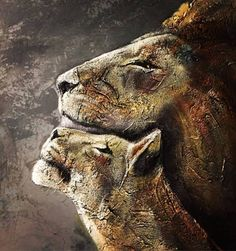 "Saatchi Art Artist Alla Dzevaltovska; Painting, ""Lions"" #art 1120$"