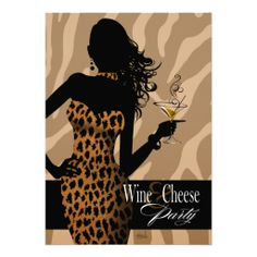 Bombshell Leopard Wine and Cheese Party Tan Custom Announcement