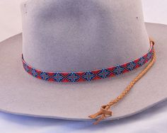 Hand Made by the Artist, Native American Inspired design, Beaded Hat Band
