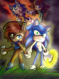 Sonic and Sally fighting for freedom