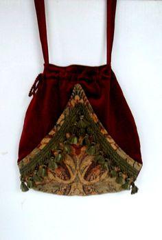 Boho Fringe Bag Brick Red Pocket Boho Bag Floral Tapestry Drawstring Bag Bohemian Bag Crossbody Purse